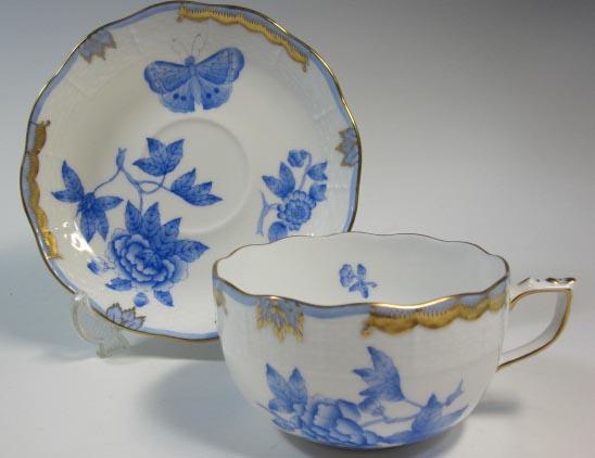 ヘレンド Herend  ビクトリア ティーカップ&ソーサー三色セット(ブルー、イエロー、オレンジ)