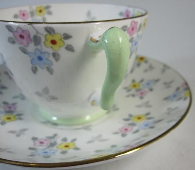 クラウンスタッフォードシャー Crown Staffordshire デュオ ティーカップ&ソーサー【アンティーク/個数限定】
