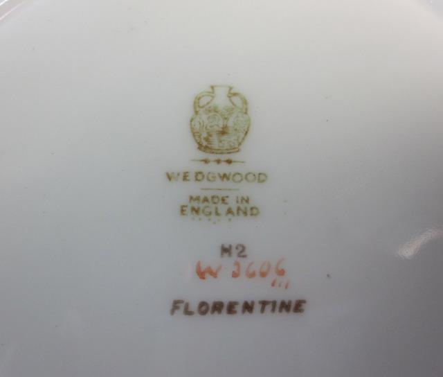 ウェッジウッド フロレンティーン イエローグリーングレー  20cmスーププレート 【アンティーク ウェッジウッド/個数限定】