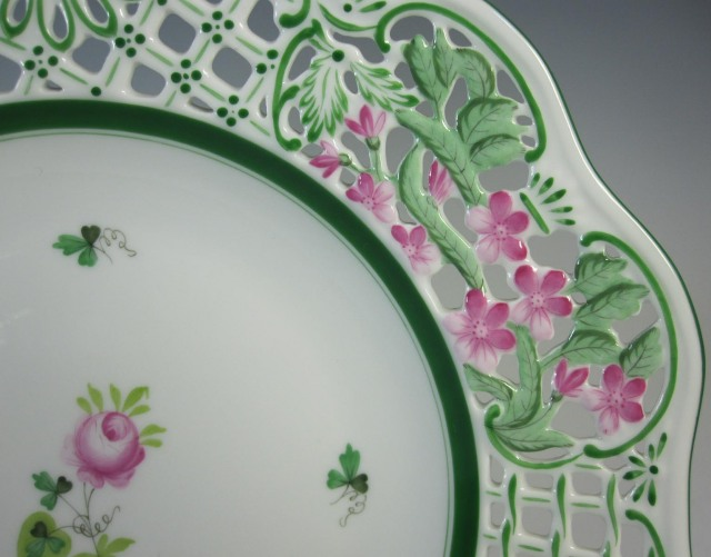 ヘレンド Herend ウィーンのバラ オープンワーク 飾り皿 8408